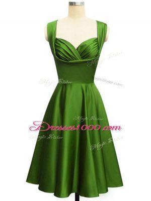 Affordable Knee Length Green Bridesmaid Dress Taffeta Sleeveless Ruching