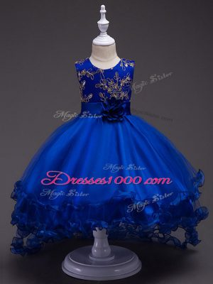 Royal Blue Little Girls Pageant Gowns Wedding Party with Appliques and Hand Made Flower Scoop Sleeveless Zipper
