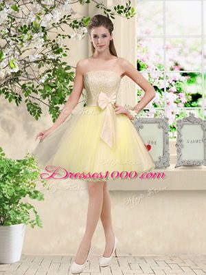 Edgy Light Yellow Off The Shoulder Neckline Lace and Belt Wedding Guest Dresses Sleeveless Lace Up