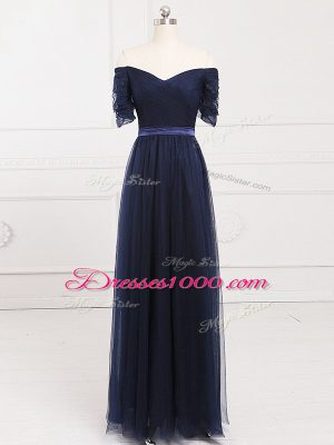 Deluxe Navy Blue Off The Shoulder Lace Up Ruching Quinceanera Court Dresses Short Sleeves