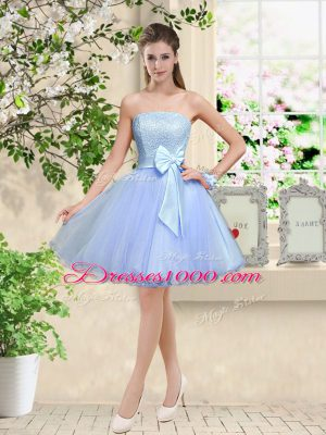 Traditional Knee Length Lavender Quinceanera Dama Dress Off The Shoulder Sleeveless Lace Up