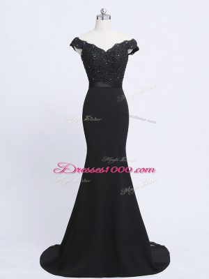 Artistic Black Zipper Formal Dresses Lace and Appliques and Belt Sleeveless Brush Train