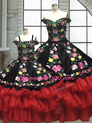 Beauteous Red And Black Organza and Taffeta Lace Up Off The Shoulder Sleeveless Floor Length Ball Gown Prom Dress Embroidery and Ruffled Layers