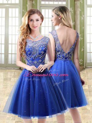 Graceful Mini Length Royal Blue Prom Dresses Scoop Sleeveless Backless