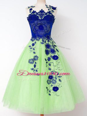 Classical Lace Up Quinceanera Court of Honor Dress Appliques Sleeveless Knee Length