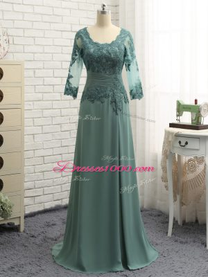 Flirting Green Zipper Mother of Groom Dress Beading and Lace and Appliques Long Sleeves Floor Length