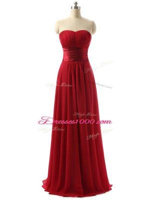 Vintage Floor Length Wine Red Vestidos de Damas Chiffon Sleeveless Ruching