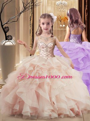 Gorgeous Peach Pageant Gowns For Girls Scoop Sleeveless Brush Train Lace Up