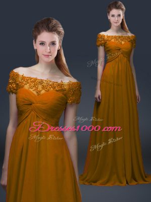 Short Sleeves Chiffon Floor Length Lace Up Mother Dresses in Brown with Appliques