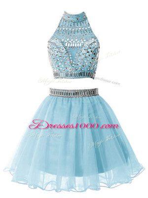Light Blue High-neck Zipper Beading Wedding Party Dress Sleeveless
