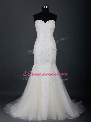 Luxury White Zipper Wedding Gowns Lace Sleeveless Brush Train