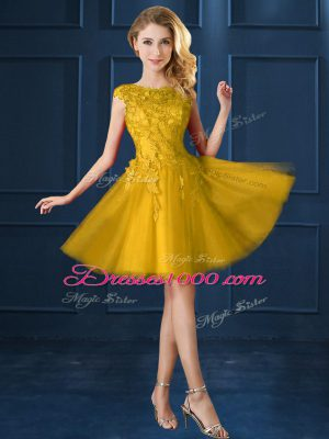 Stunning Cap Sleeves Tulle Knee Length Lace Up Court Dresses for Sweet 16 in Gold with Lace and Appliques