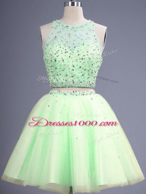 Graceful Yellow Green Tulle Lace Up Bridesmaids Dress Sleeveless Knee Length Beading