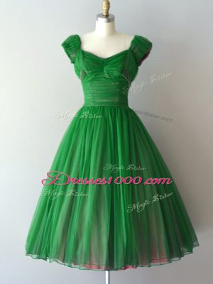 Lace Up Bridesmaid Gown Ruching Short Sleeves Knee Length