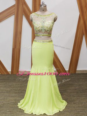 Sleeveless Zipper Floor Length Beading and Lace and Appliques Prom Evening Gown