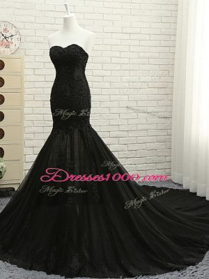 Fabulous Tulle Sweetheart Sleeveless Court Train Lace Up Lace and Appliques Dress for Prom in Black