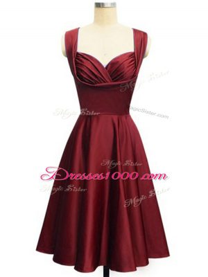 Best Sleeveless Taffeta Knee Length Lace Up Quinceanera Court Dresses in Wine Red with Ruching