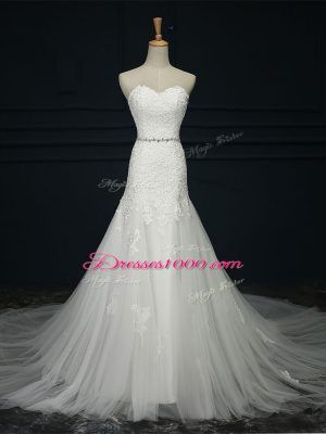 Sweetheart Sleeveless Court Train Lace Up Wedding Dress White Tulle