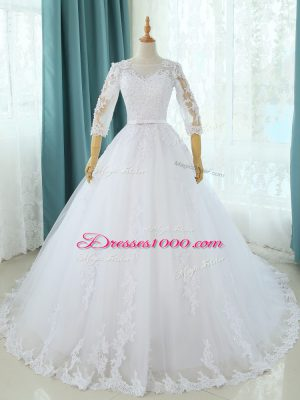 White Scoop Zipper Lace and Appliques Wedding Gowns Court Train Half Sleeves