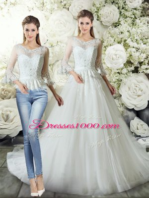 Captivating White Tulle Zipper V-neck 3 4 Length Sleeve Wedding Dress Court Train Lace