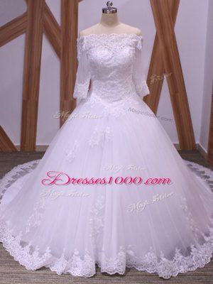 Delicate Half Sleeves Brush Train Lace Backless Wedding Gown