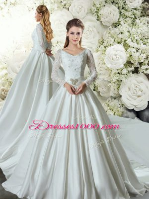 Clearance White Long Sleeves Lace and Belt Lace Up Wedding Gown