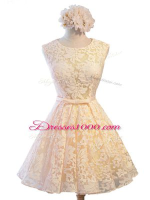 Sleeveless Lace Knee Length Lace Up Bridesmaid Dresses in Champagne with Belt