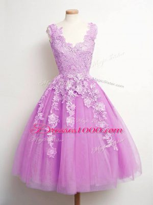Stunning Lilac V-neck Neckline Lace Damas Dress Sleeveless Lace Up