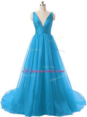 Trendy Blue V-neck Backless Ruching Homecoming Dress Brush Train Sleeveless