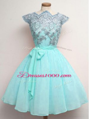 Fine Aqua Blue Scalloped Lace Up Lace and Belt Wedding Party Dress Cap Sleeves