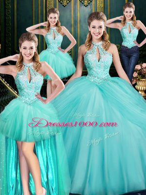 Delicate Aqua Blue Quinceanera Gown Military Ball and Sweet 16 and Quinceanera with Beading and Pick Ups Halter Top Sleeveless Lace Up