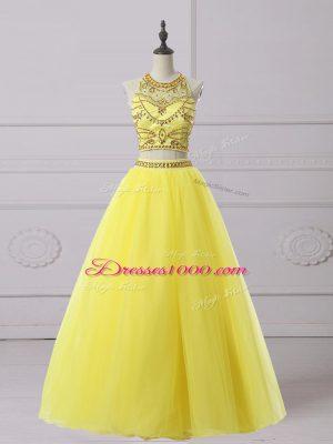 Fantastic Yellow Sleeveless Floor Length Beading Backless Prom Dress