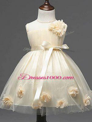 Glorious Champagne Zipper Scoop Hand Made Flower Flower Girl Dresses Tulle Sleeveless