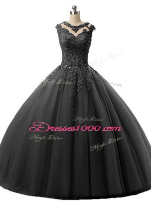 Dramatic Ball Gowns Quinceanera Gowns Black Scoop Tulle Sleeveless Floor Length Lace Up