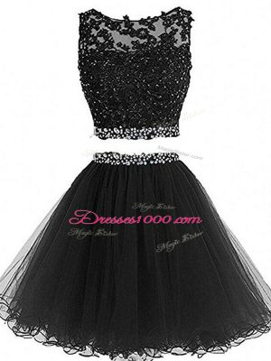 Black Zipper Prom Dress Beading and Lace and Appliques Sleeveless Mini Length