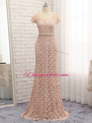 Peach Sweetheart Zipper Beading and Belt Mother of Bride Dresses Cap Sleeves