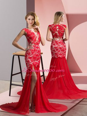 Nice Coral Red Prom Evening Gown V-neck Sleeveless Brush Train Zipper