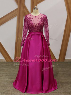 Luxury Fuchsia Long Sleeves Floor Length Beading and Appliques and Belt Zipper Mother of Bride Dresses