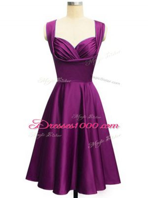 Purple Straps Neckline Ruching Bridesmaids Dress Sleeveless Side Zipper