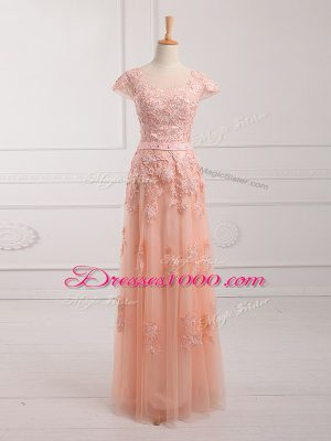 Flare Scoop Cap Sleeves Mother of Bride Dresses Floor Length Lace and Appliques and Belt Peach Tulle