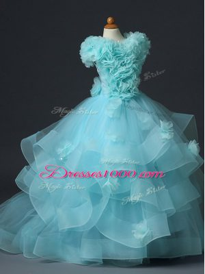 Trendy Tulle Sleeveless Floor Length Little Girls Pageant Dress and Ruffles and Hand Made Flower