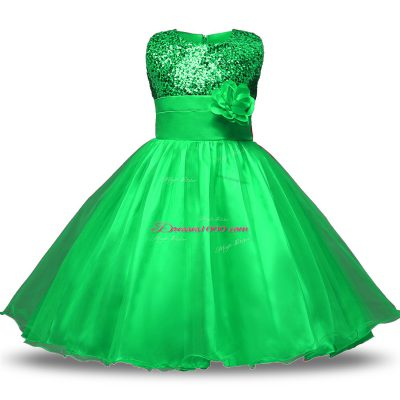Green Organza and Sequined Zipper Flower Girl Dresses Sleeveless Knee Length Belt and Hand Made Flower