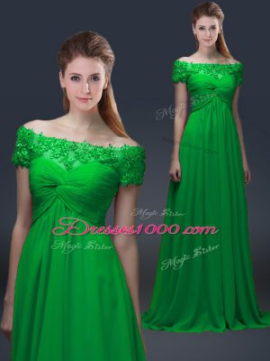 Cheap Short Sleeves Chiffon Floor Length Lace Up Mother Dresses in Green with Appliques