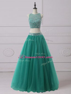 New Style Green Homecoming Dress Prom and Party and Military Ball with Beading Scoop Sleeveless Zipper
