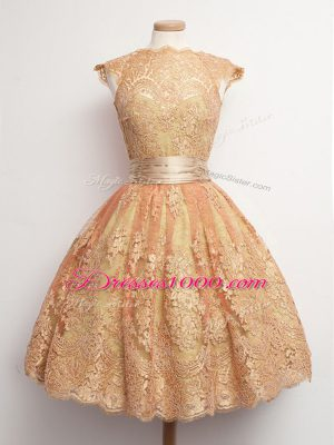 Shining Gold Ball Gowns Lace High-neck Cap Sleeves Belt Knee Length Lace Up Bridesmaid Dress