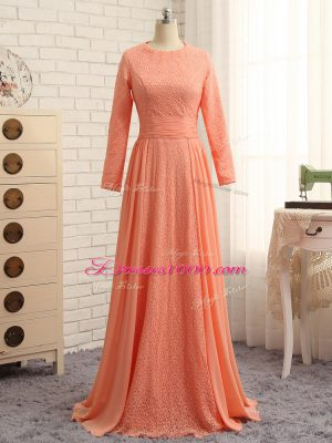 Vintage Long Sleeves Zipper Floor Length Lace Mother of Groom Dress