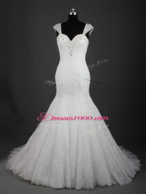 Noble White Straps Neckline Lace Wedding Dresses Sleeveless Lace Up