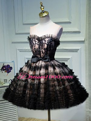 Custom Fit Ruffled Layers and Belt Prom Gown Black Backless Sleeveless Mini Length
