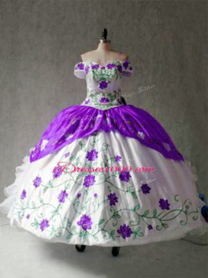 Floor Length White And Purple 15th Birthday Dress Off The Shoulder Cap Sleeves Lace Up