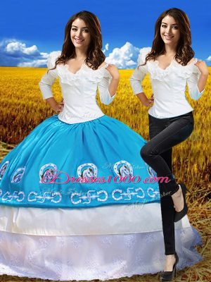 Blue And White 3 4 Length Sleeve Floor Length Embroidery Lace Up 15 Quinceanera Dress